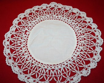 Vintage Fabric, Coronation Cord & Crocheted Lace Doily- 11.5 inches