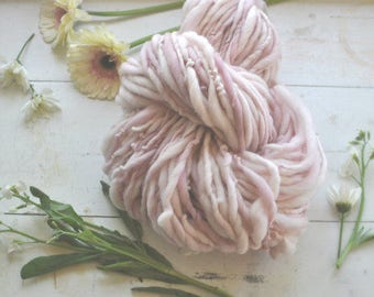 Yarn Handspun Bulky Thick n Thin Pink Light Pastel Hand dyed Wool Knitting Crochet Supplies Yospun