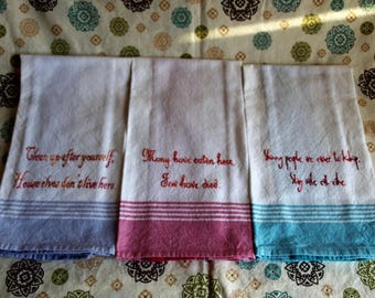 Cooking Humor Stripped Dish Towels