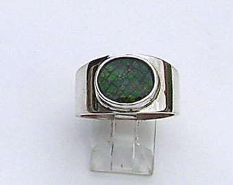Ammolite Ring Size 9 1/2 On Sterling Silver