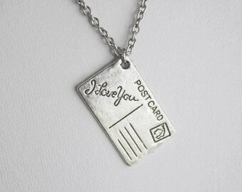 I Love You Postcard Necklace, I Love You Necklace, Postcard Necklace, Travel Necklace, Traveler Gift, French Jewelry, Gifts For Her, BFF