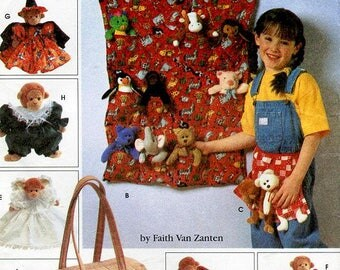 """Simplicity Craft Home Decorating Pattern 7695 - Tote Organizers, Apron, Sleeping Bag and Clothes for 9"""" Bean Bag Animal - Faith Van Zanten"""