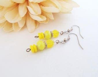 Bright Yellow Earrings, Monochromatic Jewelry, Boho Jewelry, Dangle Earrings, Teen Girl Gift for Her, College Dorm Girl, Graduation Gift