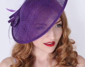 """Dark Purple Fascinator Hat - """"Wendy"""" Wide Brimmed Dark Purple mesh Fascinator Hat Headband"""