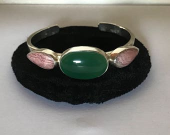 Jade rhodocrosite bracelet, jade cuff bracelet, rhodocrosite cuff bracelet, cabochon cuff bracelet