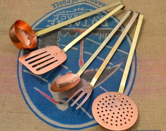 Quality Vintage French Copper and brass Kitchen Utensils