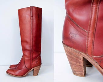 1970s vintage boots / vintage FRYE boots / knee high leather boots / size 7.5