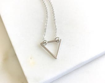 Layering Necklace. Silver Triangle Charm Layered Necklace. Simple Layering Necklace. Layered Necklace. Simple Silver Necklace.