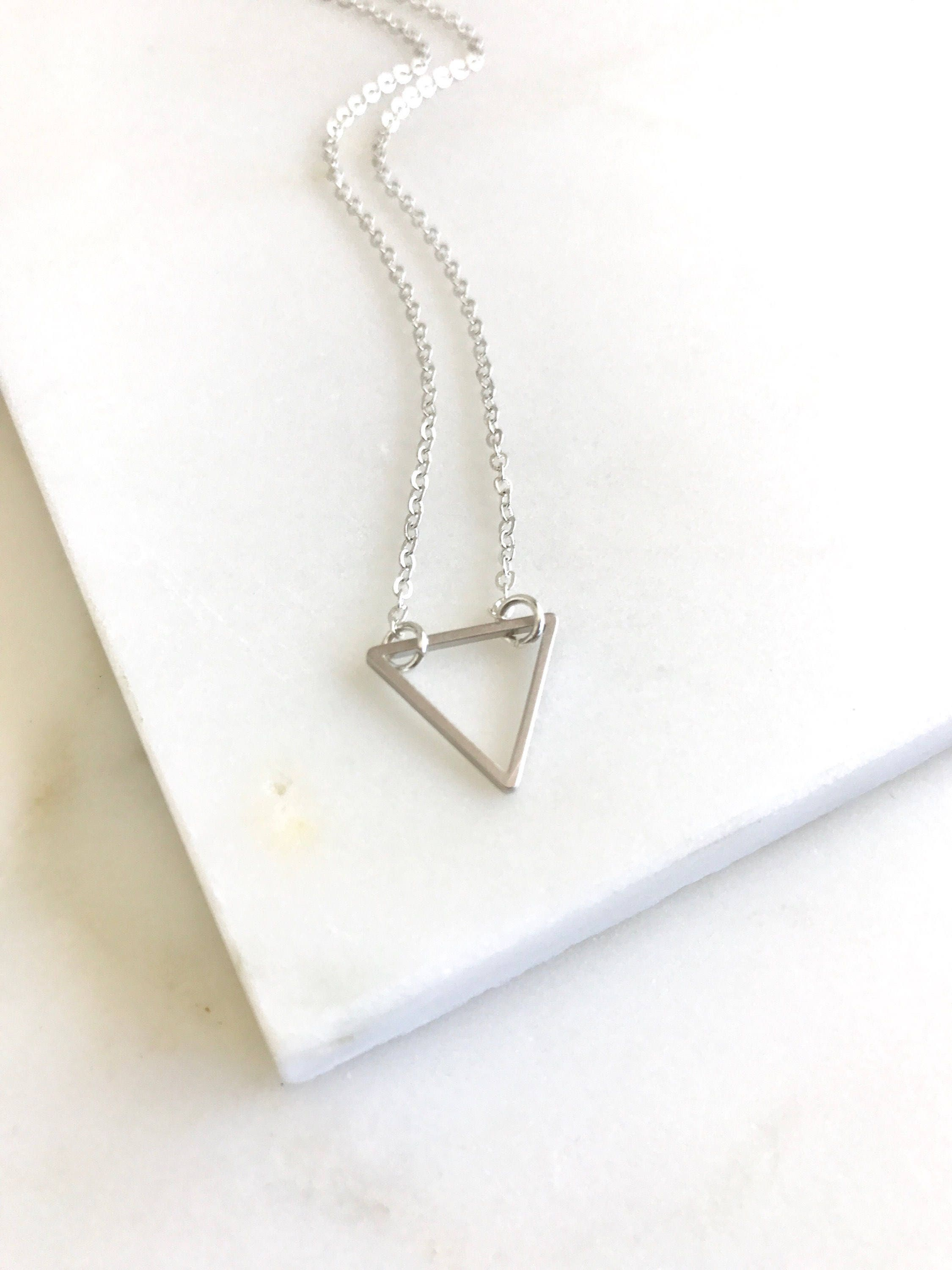 Layering Necklace. Silver Triangle Charm Layered Necklace. Simple ...