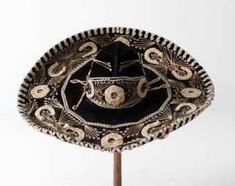 vintage sombrero, black velvet and sequin authentic sombrero