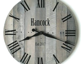 "24"" Large Wall Clock, Personalized Wedding Gift, Reclaimed Wood Clock, Unique Wall Clock, Pallet Clock, Farmhouse Decor, Anniversary Gift"