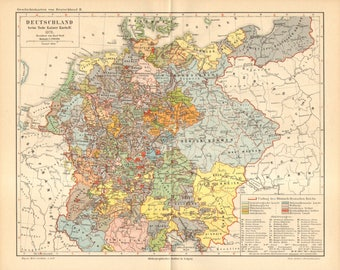 1890 Original Antique Map of Germany in 1378, by the Time of the Death of Holy Roman Emperor Charles IV