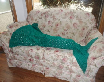 Crocheted Mermaid Tail Blanket Child Size in Emerald Green Sparkle