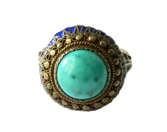 Vintage Enameled Turquoise Ring Old Chinese Export Sterling Silver
