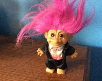 FallSavings Small vintage russ troll doll, magenta hair, ,original clothing, wedding clothing, Wedding Troll doll