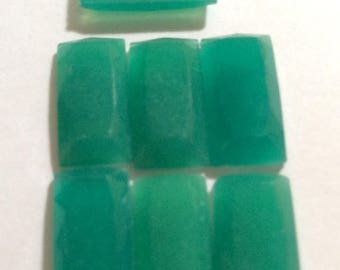 SPECIAL Vintage Jade Glass Baguette Japan 12x6mm QTY - 6