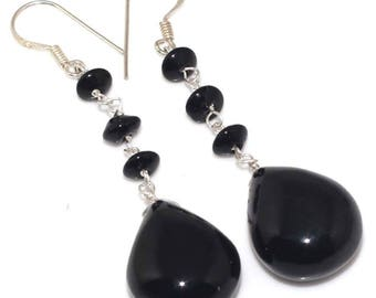 Sale, Elegant and Classy, Very Beautiful Faceted Black Onyx Earrings, 925 Silver