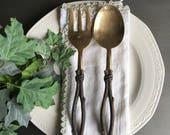 RESERVED ~ Brass Twig Handle Serving Set Branch Fork & Spoon Large Vintage Servers ~ #J1018