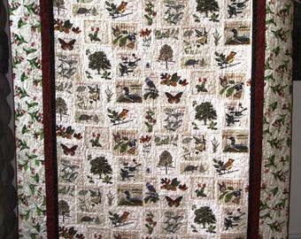 Sights & Sounds of Minnesota Twin Lap Quilt Panel with Lady Slippers