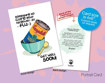 Printable GET WELL SOON Card, Chicken Noodle Soup Recipe Card, Pop Art, Warhol Campbell Soup, Instant download, Canned Soup, Friendship Card
