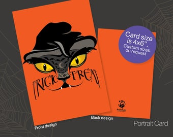 Printable Halloween Invite Cards, Halloween Party Invite, Instant download greeting, Invitation card, Bat, Cat, Friendship Cards