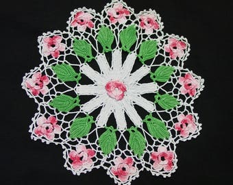 """Vintage Crocheted Doily Small and Dainty Pink Dimensional Flowers 9"""""""