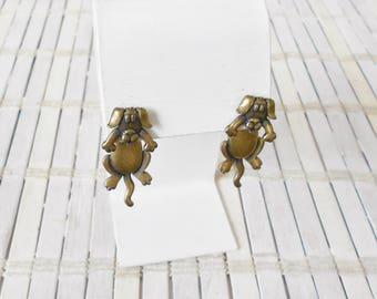 Retro JJ Doggo Dangle Earrings, Jonette, Antique gold finish, Dog earrings, dog Lover, Pupper jewelry, 1990's style, Faux Gauges, fake plugs