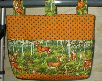 """Adult Unisex Walker Bag Tote Caddy – Goldenrod & Hunter Green Cotton Canvas Bag, Dark Green and Brown """"Deer"""" Pockets 3 Straps"""