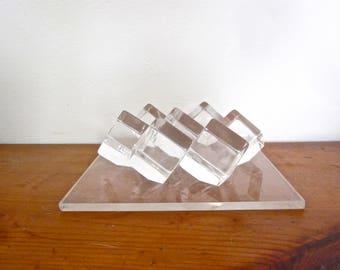 Vintage lucite plexiglass table sculpture, mod decorative object