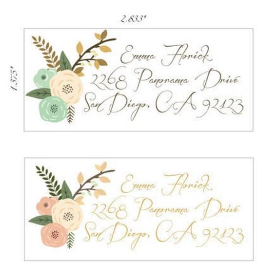 Return Address Labels, Floral Return Address Stickers, Formal ...