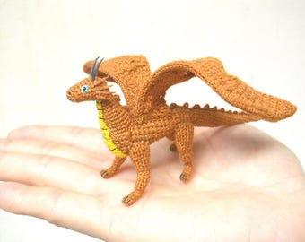 Mini Brown Dragon  - Tiny Crochet Miniature Chromatic Dragon - Made To Order