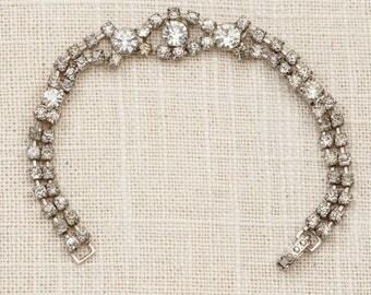 Vintage Bracelet Silver Rhinestone Chain Costume Jewelry 7J