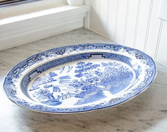 Lg Vintage Blue Willow Platter, Ironstone, Blue and White, Japan