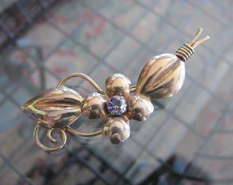 Flower Brooch, Gold Filled, Sterling Silver Amethyst, Rhinestone Pin