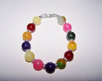 Colorful beaded stone rhinestone bracelet