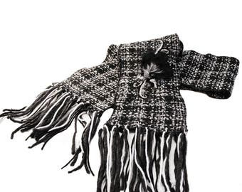 Long scarf, woman scarf, fall and winter scarf, wool scarf ,grey , blanc and white  scarf