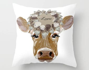 Indoor pillow cover with pillow insert, Indoor Pillow Cover, Cow with Love Hat