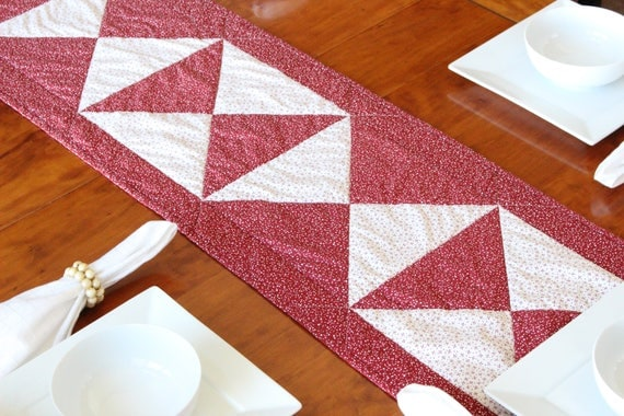 Red White Scandi Christmas Quilted Table Runner