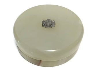 Vintage Trinity Broadcast Alabaster Box with TBN armorial, originally used for Holy Land annointing oil, c1980s