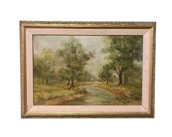 Vintage 1930s Oil Painting on Board, plein air landscape, trees near a stream, gilt frame