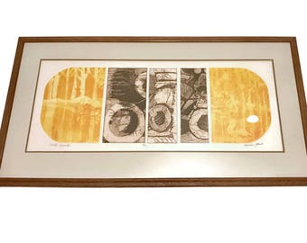 Vintage 1970s Etching aquatint by Marian Glomb, limited edition, Earth Capsule, abstract mid century modern
