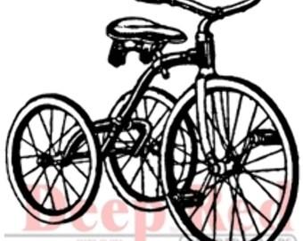 Deep Red Rubber Stamp Vintage Kids Tricycle Bike