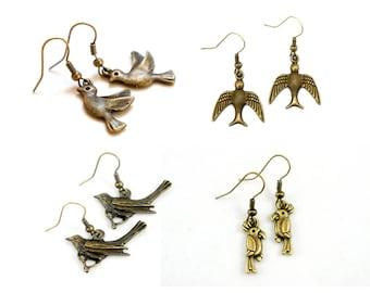 Antiqued Brass Bird Dangle Earrings - Crow Sparrow Parrot Earrings