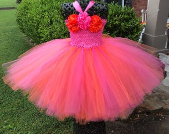 Shocking pink and orange couture flower girl dress, Tutu Dress, Flower Girl Tutu Dress, Pageant Attire, Orange and Hot pink wedding