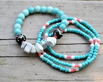 AMAZONITE WHITE MAGNESITE Bracelet with Matching Seedbead Turquoise Wrap Bracelet Set
