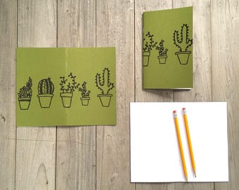 Cactus and Succulent Notebook, Cute Journal, Small Notebook, Stocking Stuffer, Free US Shipping