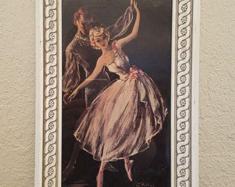 Lovely Little Mid Century 1950s Man/Woman Ballet Dancers by J Cherie Framed Art Print