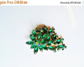Brooch Rhinestones Green Navette AB Gold Tone Vintage Jewelry Jewellery Bridal Sash Bouquet Gift Guide Women Hollywood Regency Waldorf