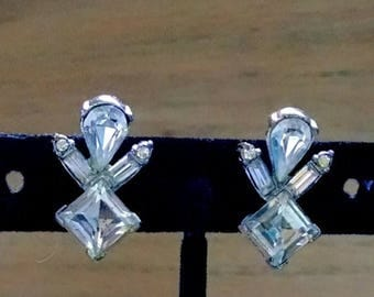Vintage Earrings Signed Bogoff Clear AB Rhinestones Wedding Earrings Jewelry Jewellery