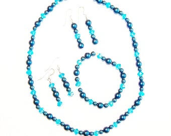 Necklace Earrings Bracelet Handmade Jewelry Set Steel Blue Aqua Beads Wedding Jewellery Bridal Party Gift Guide Women